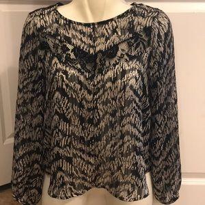 Sheer lace top long sleeve shirt
